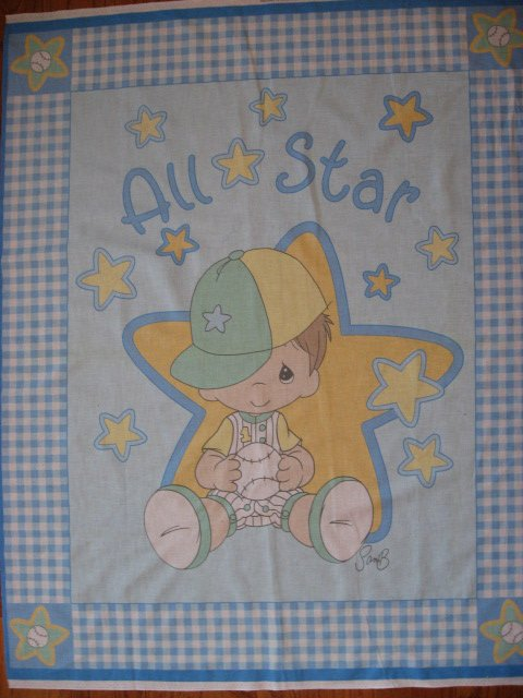 Precious Moments Boy All Star Baseball Hat Crib Quilt Fabric  Panel to sew