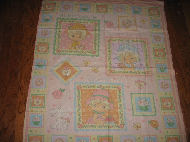 Precious Moments Girl Hat Quilt Vintage Fabric Panel to sew or hang