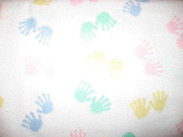 Baby Handprints Pastel white 100% cotton flannel By the Yard
