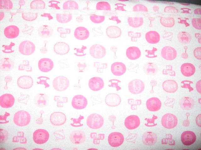 Tops Blocks Rocking Horse baby Rattle pink 100% cotton Flannel By The Yard
