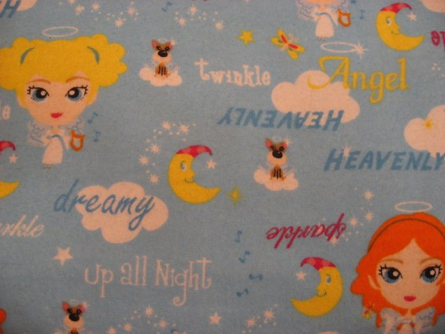 Girl Angel dog Clouds Moon Pre Teen 100% cotton Flannel By the Yard