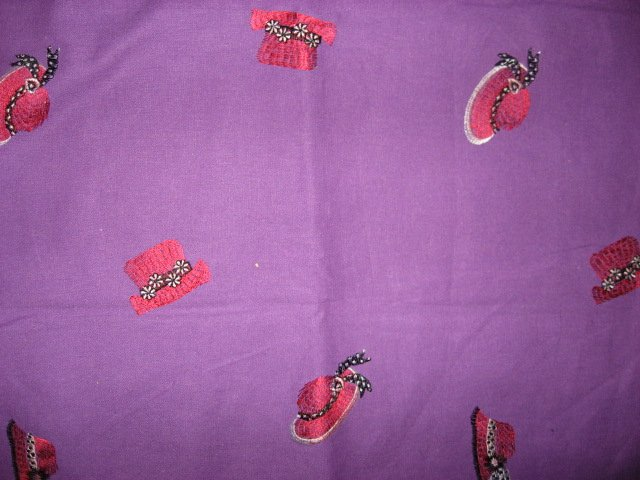 Image 0 of Red Hat embroidered Flowers Purple Cotton  fabric 54
