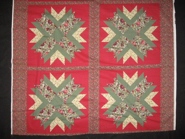 Floral geometric Cheater Quilt red and green Cotton Fabric pillow panel set of 4