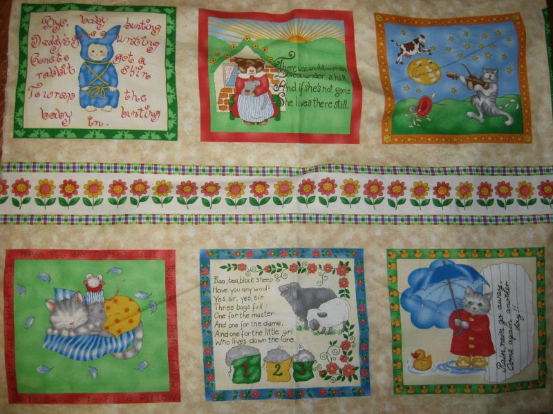 Fabric pillow panels set of Six small Nursery Rhymes to sew Rare