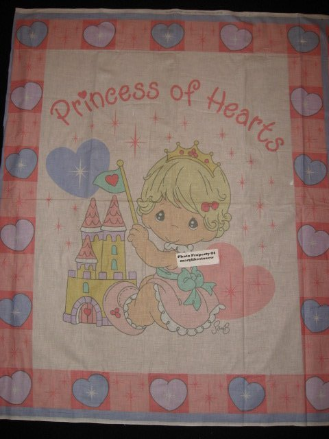 Precious Moments Girl princess Crib Quilt Panel rare to sew