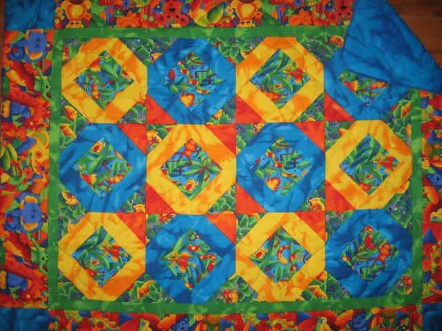 Jungle animals Bird Frog Monkey Tropical Baby crib fabric quilt