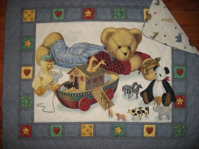 Daisy Kingdom Blue Jean Teddy Noah's Ark Baby crib quilt panel blanket finished