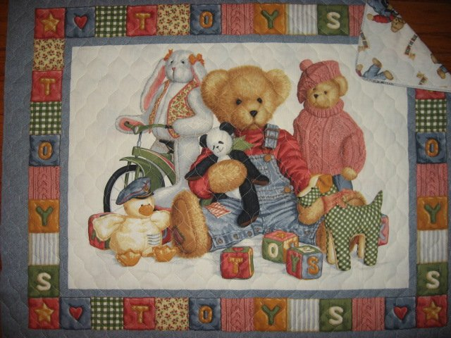 Daisy Kingdom Blue Jean Teddy Panda finished baby crib quilt and 152 bumper pad