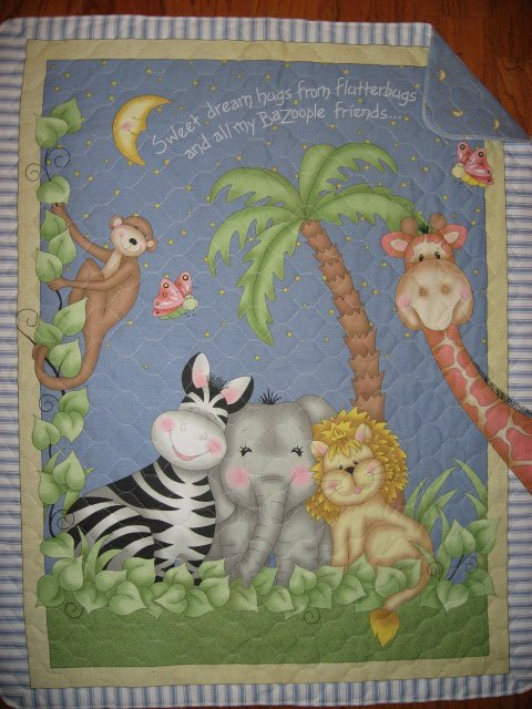 Bazooples Giraffe Zebra Monkey Lion Elephant Baby crib quilt finished edge