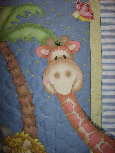 Image 3 of Bazooples Giraffe Zebra Monkey Lion Elephant Baby crib quilt finished edge