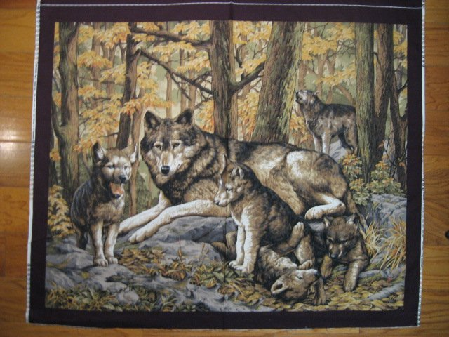 Wolf Family with Cubs in Forest scene fabric Wall Panel to sew  //