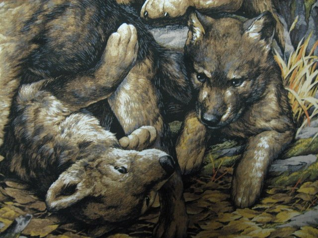 Image 3 of Wolf Family with Cubs in Forest scene fabric Wall Panel to sew  //