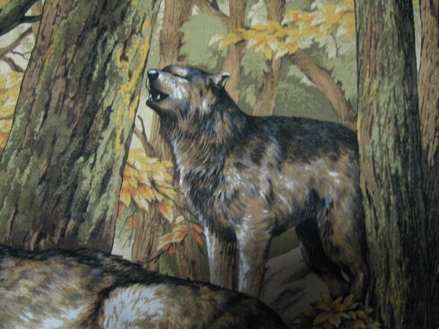 Image 4 of Wolf Family with Cubs in Forest scene fabric Wall Panel to sew  //