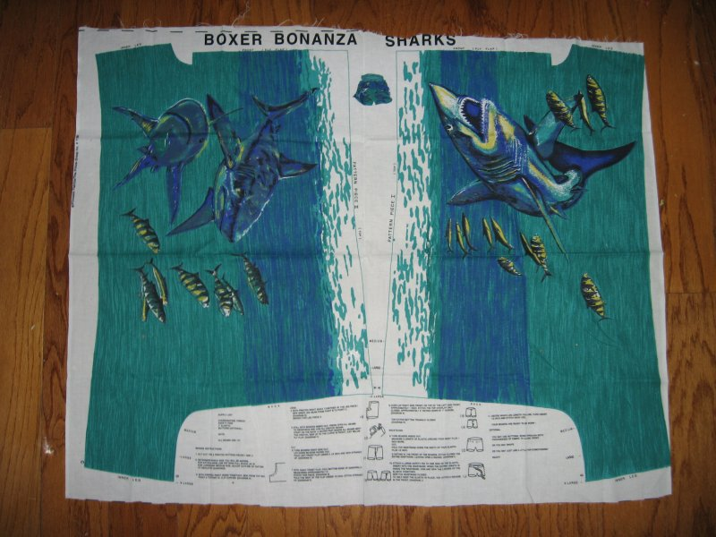 Shark shorts fabric Panel with directions M L XL  to sew Rare last panel