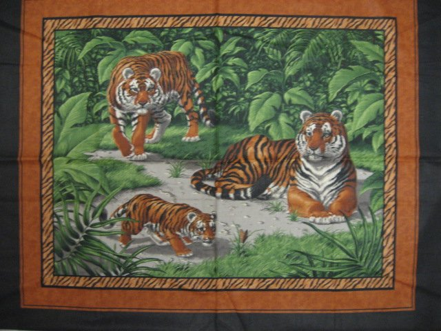 Tiger and Mate with baby animal butterfly jungle Fabric Wall Panel to sew //