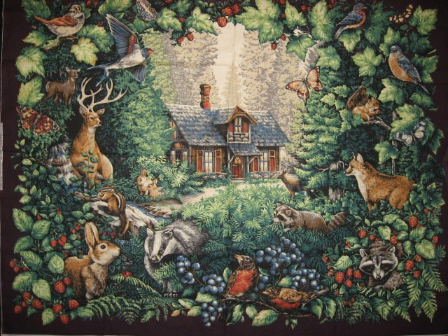 Deer Bird Cabin Glenvale Cottage scene Fabric Wall Panel to sew  rare/