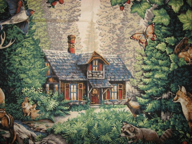 Image 1 of Deer Bird Cabin Glenvale Cottage scene Fabric Wall Panel to sew  rare/
