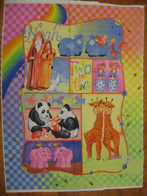 Noah's Ark Baby Girl Pink Rare Crib quilt fabric panel to sew