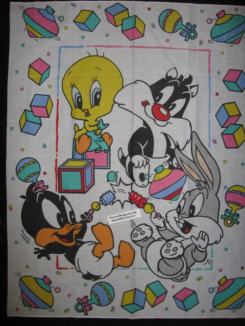 Image 0 of Crib quilt Fabric Panel Baby Tweety Sylvester Bugs Bunny Daffy RARE! YOU SEW