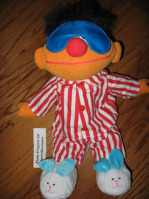 Sesame Street Ernie Talking Singing Snoring with Bunny Slippers Toy Doll /