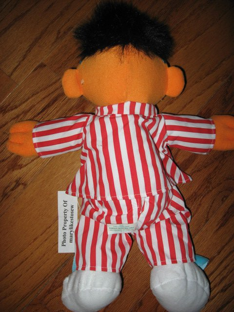 Image 1 of Sesame Street Ernie Talking Singing Snoring with Bunny Slippers Toy Doll /