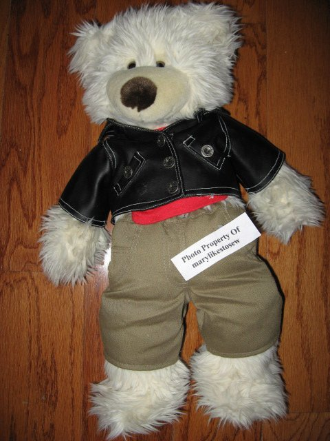 Build a Bear Original Black Jacket Red Shirt Brown Pants
