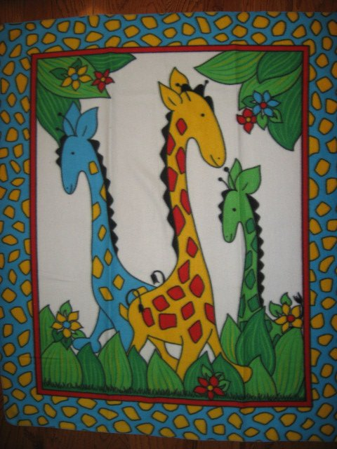 Giraffe Child Bed size Fleece blanket Whimsical  Primary Colors /