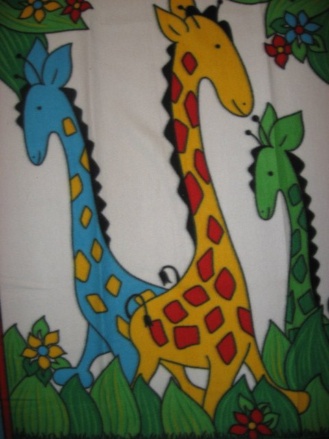 Image 1 of Giraffe Child Bed size Fleece blanket Whimsical  Primary Colors /