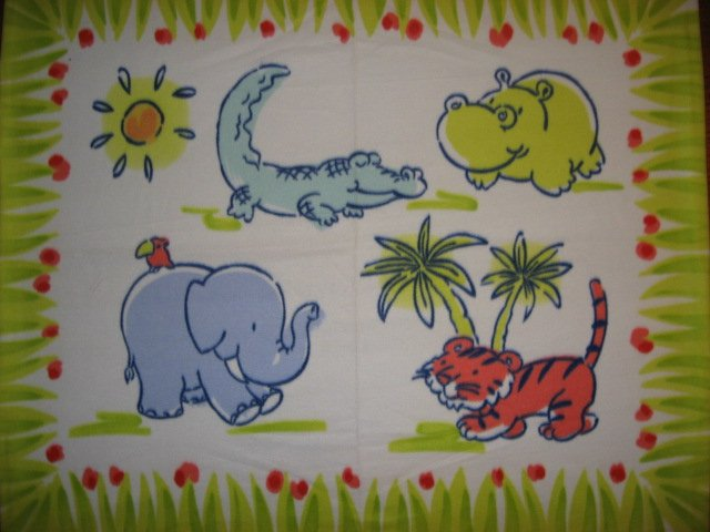 Image 0 of Elephants Hippos Tigers Aligators or crocodiles Child bed size fleece blanket