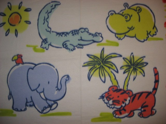 Image 1 of Elephants Hippos Tigers Aligators or crocodiles Child bed size fleece blanket