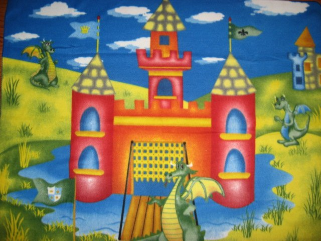 Dragon Castle Moat Flags Child bed size fleece blanket 48x59 rare