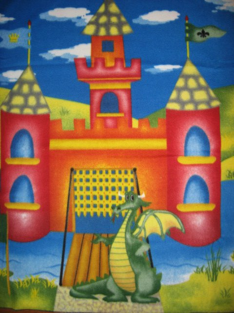 Image 1 of Dragon Castle Moat Flags Child bed size fleece blanket 48