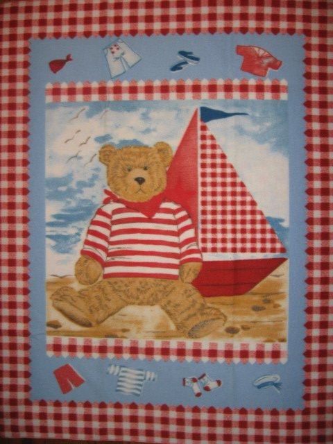 Image 0 of Teddy Bear Toy Sailboat sail boat Seagull Sand Sea Child bed size fleece blanket
