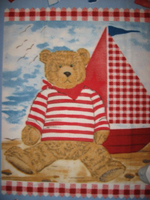 Image 1 of Teddy Bear Toy Sailboat sail boat Seagull Sand Sea Child bed size fleece blanket