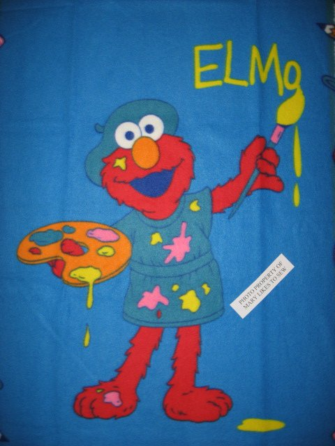 Image 0 of Sesame Street Elmo the painter Very Rare piece Child bed size fleece blanket