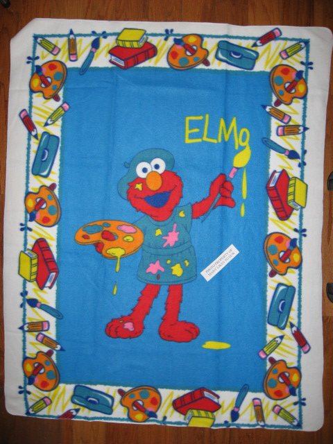 Image 1 of Sesame Street Elmo the painter Very Rare piece Child bed size fleece blanket