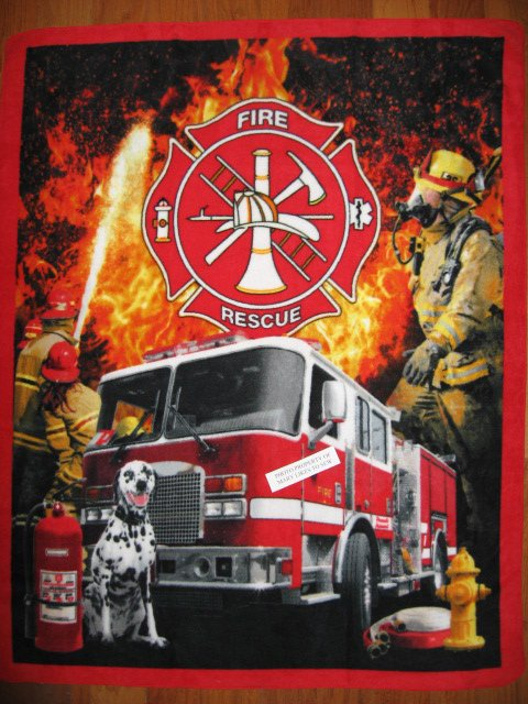 Firetruck Engine Dalmatian Dog Fireman fleece Blanket