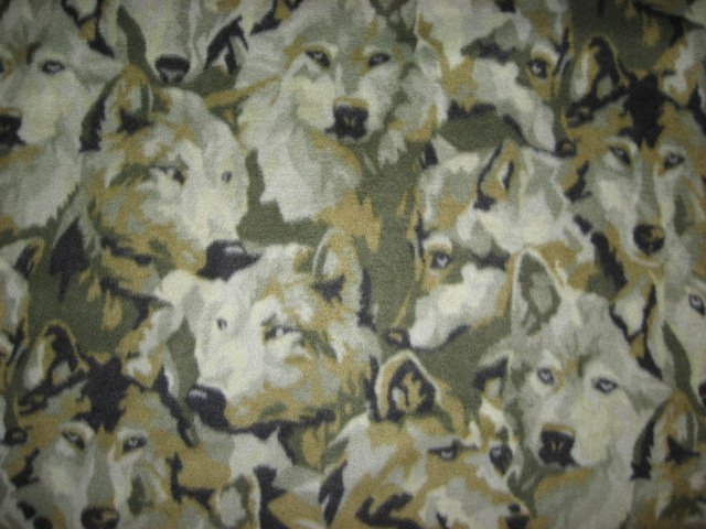Wolf Wolves Wild Dog gray Camouflage Fleece by the yard make tie blanket or sew