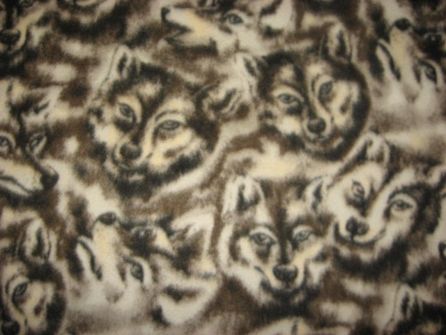 Wolf Wolves Wild Dog Faces fleece by the yard to make a tie blanket or sew