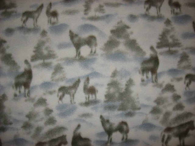 Wolf Wolves pine trees white gray fleece by the yard to make tie blanket or sew