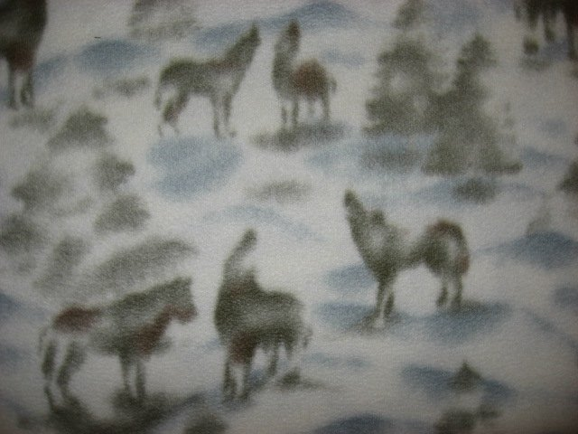 Image 1 of Wolf Wolves pine trees white gray fleece by the yard to make tie blanket or sew