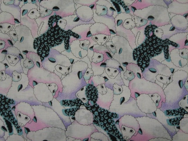 Image 0 of Lambs and black sheep Farm Country  Cotton Quilt Sewing Fabric by the yard /