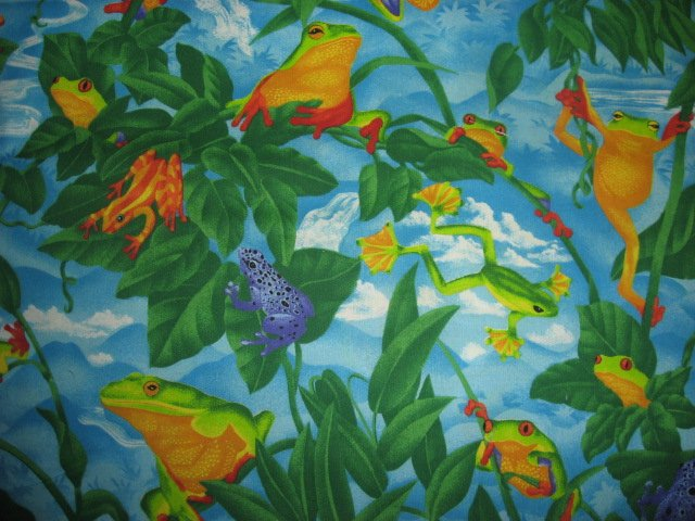 Image 1 of Tree Frogs toads in the Jungle with leaf waterfall and Plants fabric by the yard