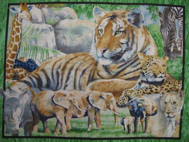 Image 0 of Tiger Zebra Giraffe Rhino Elephant Leopard Jungle collage Fabric Panel sew /