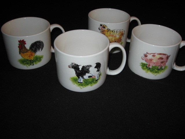 Country Barn Rooster Sheep Cow Pig four large soup mugs cups