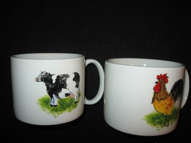 Image 1 of Country Barn Rooster Sheep Cow Pig four large soup mugs cups/
