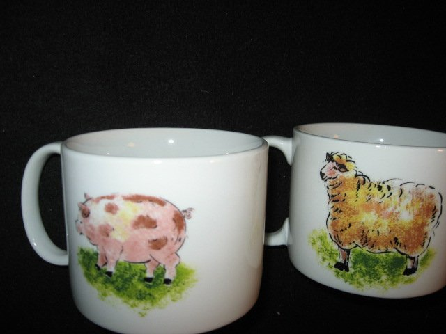 Image 2 of Country Barn Rooster Sheep Cow Pig four large soup mugs cups/