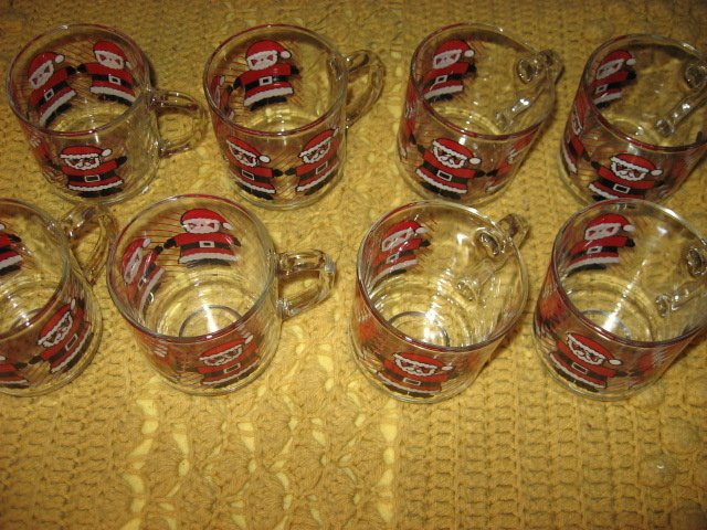 Image 2 of Christmas Santas Luminarc eight glass mugs red black white