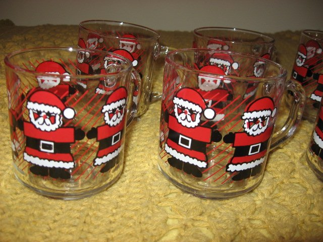 Image 3 of Christmas Santas Luminarc eight glass mugs red black white