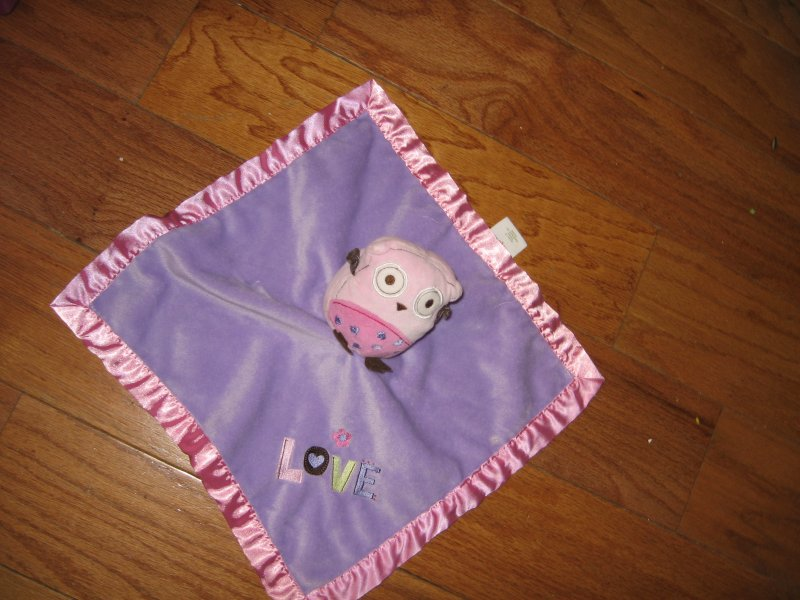 Image 0 of Pig Lovey Security Blanket lilac w/satin binding